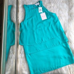 Charles Henry 3-Tiered Sleeveless Dress (Teal) S